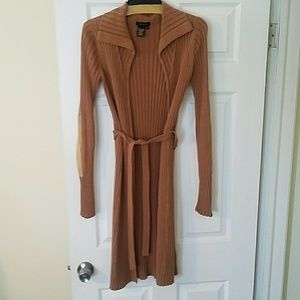 BCBG sweater with suede elbows